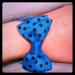 Blue and pullback polka dot bow hair tie